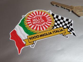 "Mille Miglia 1000 Flag & Scroll Sticker 3.75"""