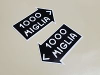 """Mille Miglia Black Directional Stickers - 1.5"""" or 4"""" Pair"""