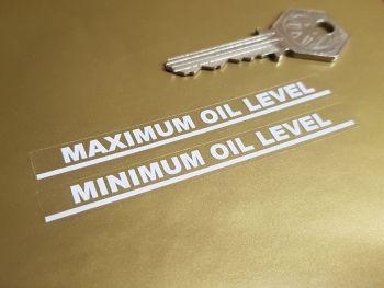 """Maximum & Minimum Oil Level White on Clear Indicator Stickers 3.5"""" Pair"""