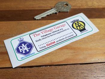"""RAC & AA 'The Village Garage' Service Sticker. 4.25""""."""
