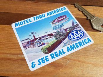 "AAA Motel Thru America & See Real America Sticker 3.5"""