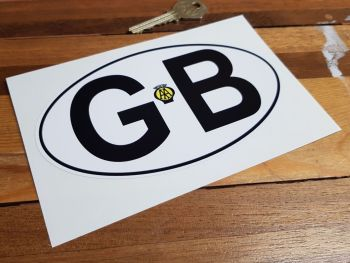 "GB Old AA Black on White with Black Outline ID Plate Sticker. 6""."