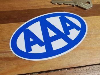"AAA Blue on White Oval Sticker 4"""