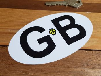 GB Old AA Black on White No Black Line ID Plate Sticker 6""