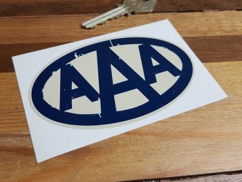 "AAA Oval Worn Distressed Aged Look Sticker. 4""."