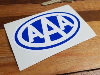 "AAA White on Blue Oval Sticker. 4""."