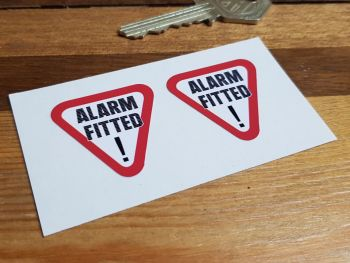 """Alarm Fitted Black Text Warning Stickers. 1.25"""" Pair."""
