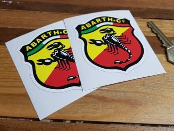 """Abarth & Co Classic Style Shield Stickers. 2"""", 3"""", or 5.75"""" Pair."""