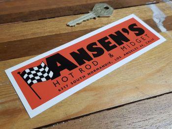 "Ansen's Hot Rod & Midget Los Angeles California Sticker. 6""."
