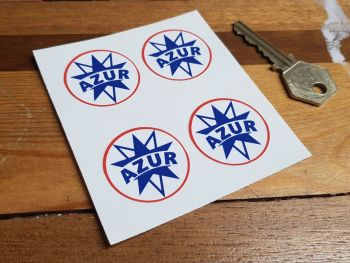 Azur French Gasoline Logo Circular Stickers. Set of 4. 34mm.
