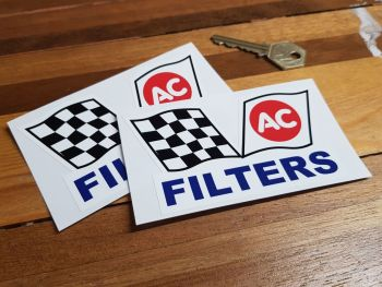 """AC Filters Chequered Flag Stickers. 4.5"""" Pair."""