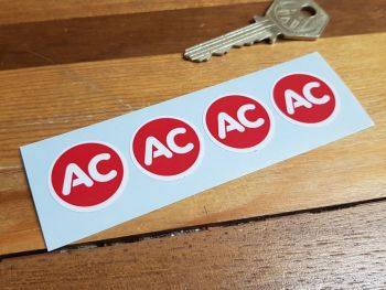 "AC Red Circular Stickers. Set of 4. 1""."
