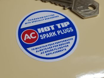 "AC Hot Tip Spark Plugs Sticker 2"""
