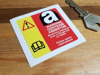 "Asbestos Red & Yellow Warning Sticker. 2.25""."