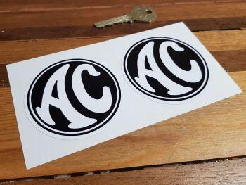 "AC  Cars Black & White Circular Stickers. 3"" Pair."