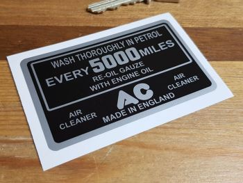 "AC Wash Thoroughly Every 5000 Miles etc Air Cleaner Black & Silver Sticker 2"" or 3.25"""