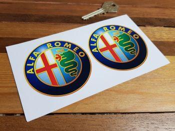 "Alfa Romeo Modern Style Logo Stickers. 3"" Pair."