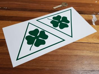 """Alfa Romeo Cloverleaf Triangle With Green Angular Outline Stickers. 6"""" Pair."""