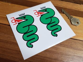 "Alfa Romeo Serpent Stickers. Left Facing. Colour. 4"" or 7"" Pairs."