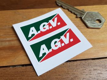 """A.G.V. Red & Green Oblong Stickers 2"""" Pair"""