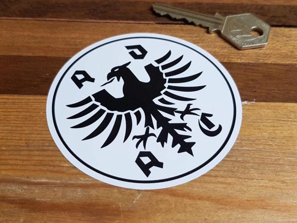 ADAC German Automobile Club Black & White Sticker. 3.5