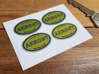 Akront Yellow & Silver Oval Stickers. Set of 4. 1.25