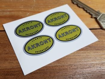 """Akront Yellow & Silver Oval Stickers. Set of 4. 1.25""""."""