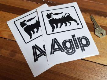 "Agip Black & Clear Stickers. 6"" Tall Pair."