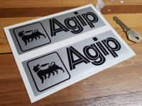 Agip Black & Silver Oblong Stickers. 3