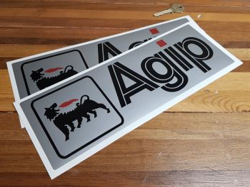 """Agip Black & Silver with Red Dot Oblong Stickers. 12"""" Pair."""