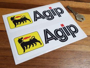 "Agip Colour Oblong  Stickers. 6"" Pair."