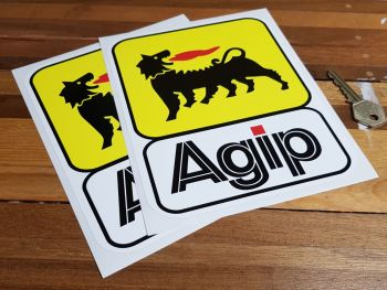 """Agip Earlier Style Joined Stickers. 7.5"""" Tall Pair."""