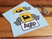 Agip Earlier Style Wavy Chequered Flags Stickers 4