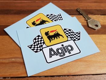 """Agip Earlier Style Wavy Chequered Flags Stickers 4"""" Pair"""