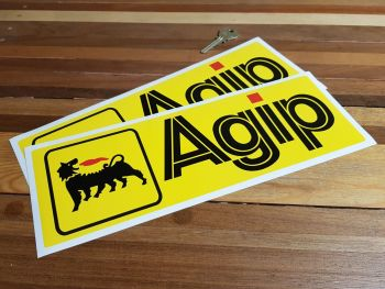 """Agip Yellow Oblong Stickers. 3"""" or 12"""" Pair."""