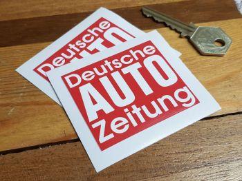 """Deutsche Auto Zeitung Autozeitung Stickers. 2.5"""" Pair."""