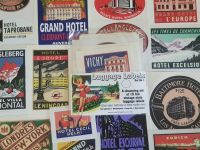 Vintage Style Travel Luggage Labels - Set 1 - Set of 15 Stickers