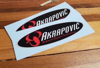 """Akrapovic Exhaust System Technology Stickers. 6"""" Pair."""