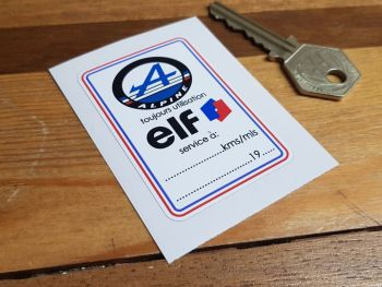 "Alpine & Elf Service Sticker. 2.5""."
