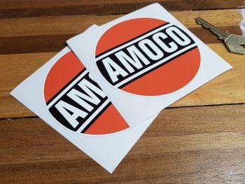 "Amoco Oil Circular Stickers. 4"" Pair."