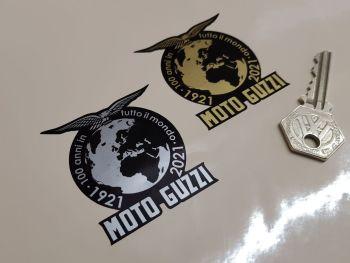 """Moto Guzzi 100 Years Around the World Anniversary Sticker - 2.25"""""""