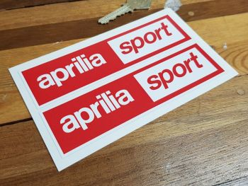 "Aprilia Sport Oblong Stickers. 6"" Pair."