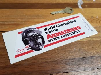 "Graham Hill Armstrong Shock Absorbers World Champion Sticker. 6.5""."