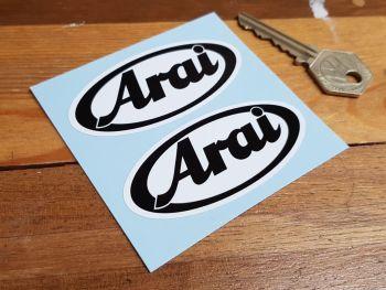 "Arai Black & White Oval Stickers 3"" Pair"