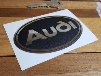 "Audi Black & Chrome Foil Oval Logo Sticker 4"" / 100mm"