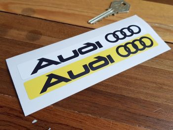 """Audi Number Plate Dealer Logo Cover Stickers. 5.5"""" Pair."""