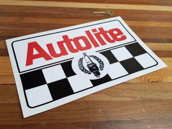"""Autolite Plug & Chequered Sticker. 12""""."""
