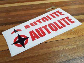 "Autolite Text Oblong & Star Stickers. 12"" Pair."