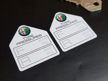 "Alfa Romeo Tyre Pressure Stickers 1.75"" Pair"