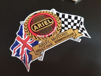 "Ariel Lined Logo Flag & Scroll Sticker 3.75"""